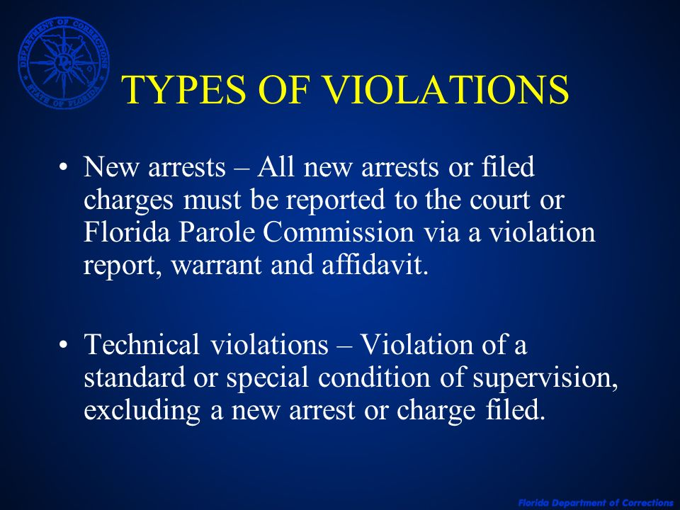 TECHNICAL VIOLATIONS A technical violation for one offender may be more serious due to the following factors: Type of supervision Current offense Prior record and/or history of violence Current progress on supervision with treatment and overall compliance with all conditions of supervision Stability of residence, employment Prior supervision history (Previously absconded or violated with technical violations or a new arrest) Mental condition of offender