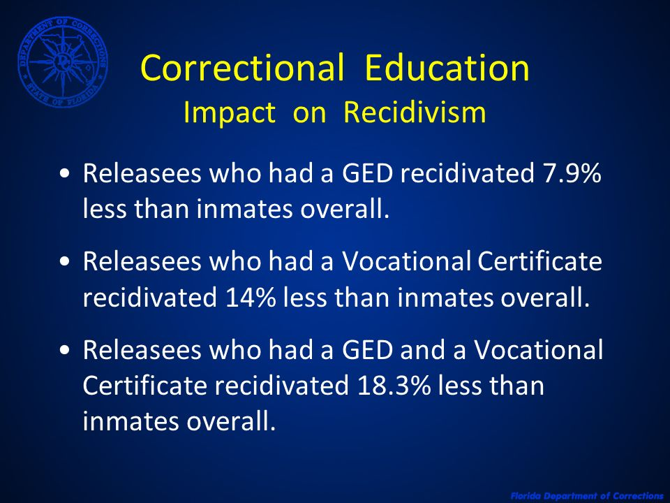 Correctional Education Impact on Recidivism Releasees who had a GED recidivated 7.9% less than inmates overall. Releasees who had a Vocational Certifi