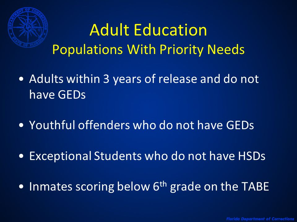 Adult Education Populations With Priority Needs Adults within 3 years of release and do not have GEDs Youthful offenders who do not have GEDs Exceptio