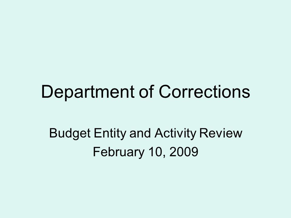 Department of Corrections Budget Entity and Activity Review February 10, 2009