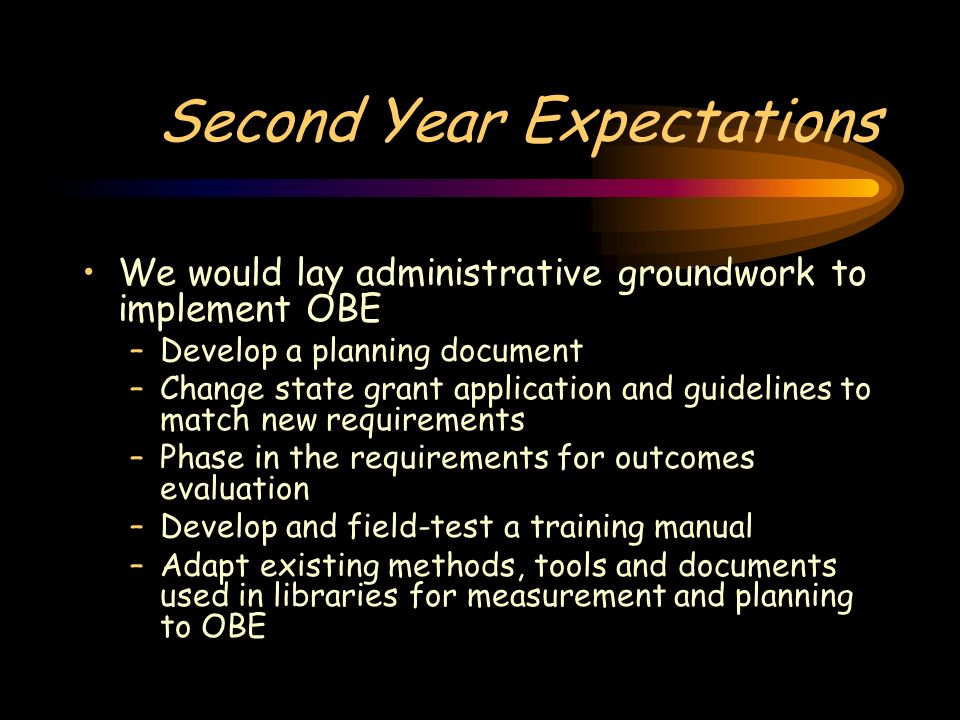 Second Year Expectations We would lay administrative groundwork to implement OBE –Develop a planning document –Change state grant application and guid
