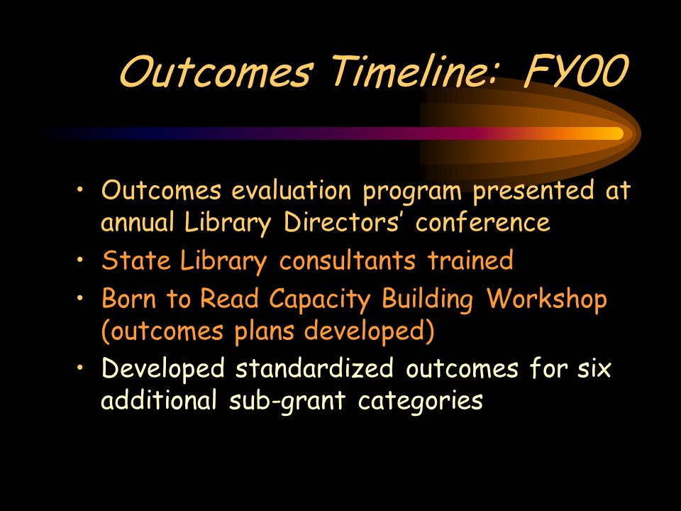 Outcomes Timeline: FY00 Outcomes evaluation program presented at annual Library Directors conference State Library consultants trained Born to Read Capacity Building Workshop (outcomes plans developed) Developed standardized outcomes for six additional sub-grant categories