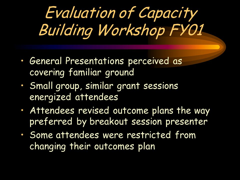 Evaluation of Capacity Building Workshop FY01 General Presentations perceived as covering familiar ground Small group, similar grant sessions energized attendees Attendees revised outcome plans the way preferred by breakout session presenter Some attendees were restricted from changing their outcomes plan