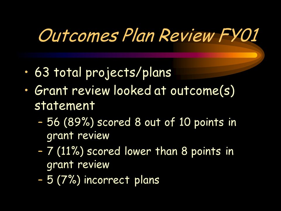 Outcomes Plan Review FY01 63 total projects/plans Grant review looked at outcome(s) statement –56 (89%) scored 8 out of 10 points in grant review –7 (11%) scored lower than 8 points in grant review –5 (7%) incorrect plans