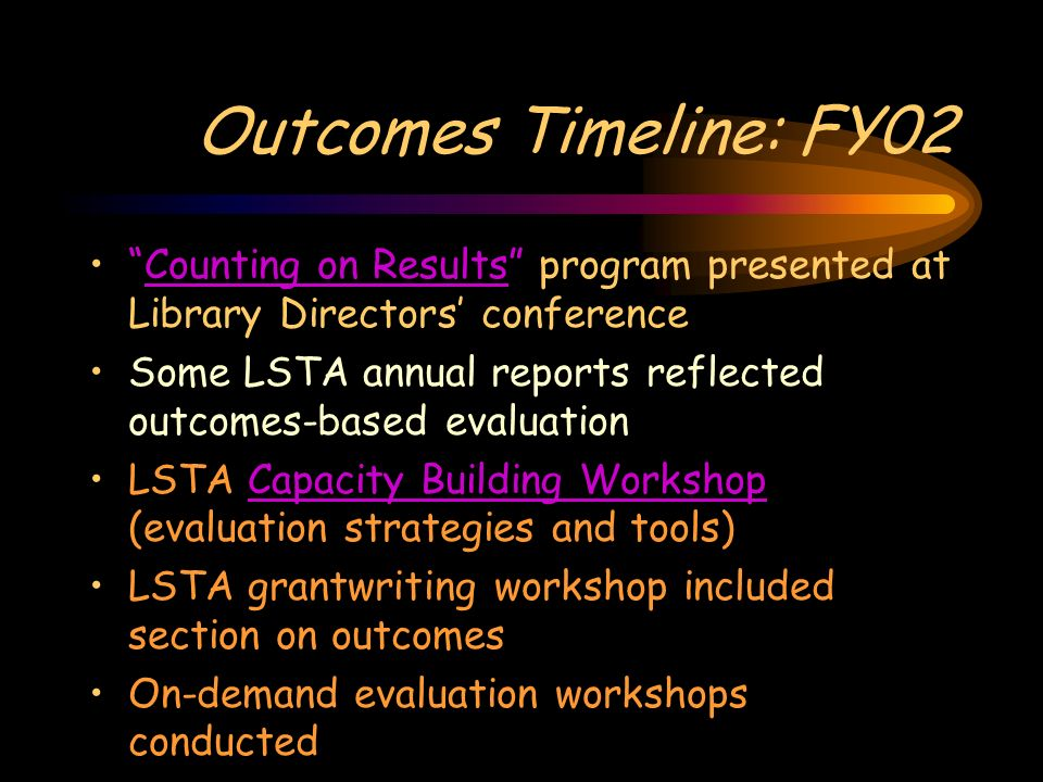Outcomes Timeline: FY02 Counting on Results program presented at Library Directors conferenceCounting on Results Some LSTA annual reports reflected outcomes-based evaluation LSTA Capacity Building Workshop (evaluation strategies and tools)Capacity Building Workshop LSTA grantwriting workshop included section on outcomes On-demand evaluation workshops conducted