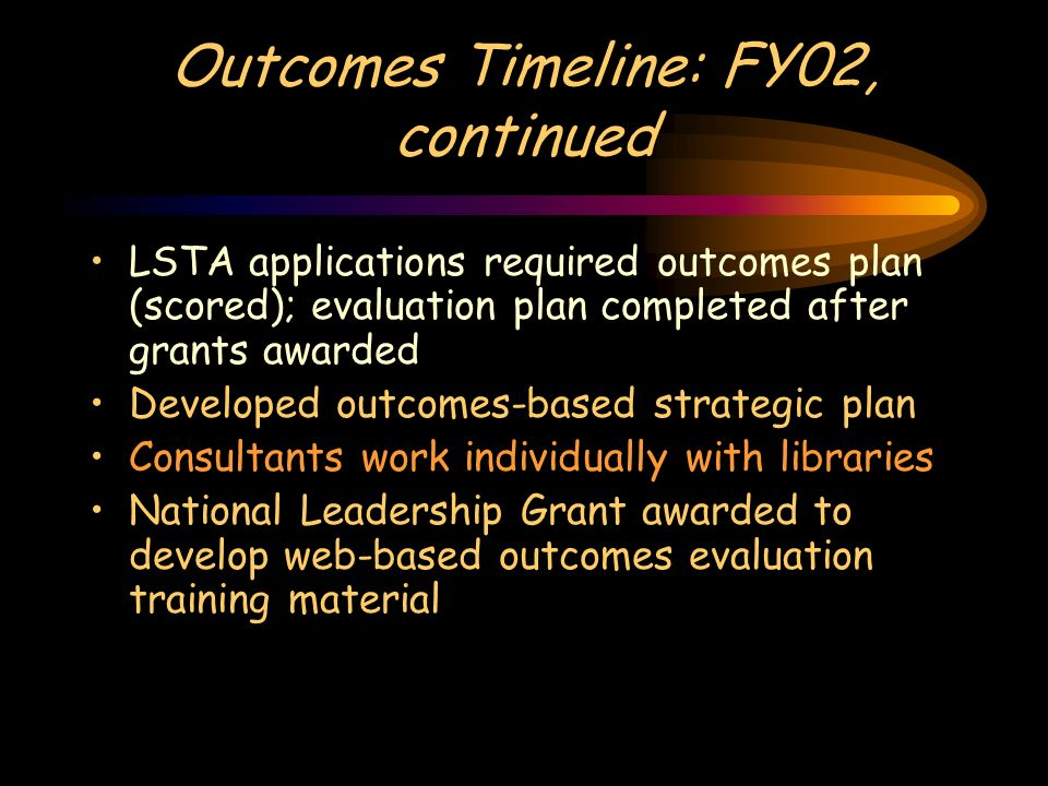 Outcomes Timeline: FY02, continued LSTA applications required outcomes plan (scored); evaluation plan completed after grants awarded Developed outcomes-based strategic plan Consultants work individually with libraries National Leadership Grant awarded to develop web-based outcomes evaluation training material