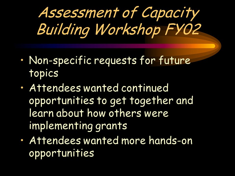Assessment of Capacity Building Workshop FY02 Non-specific requests for future topics Attendees wanted continued opportunities to get together and learn about how others were implementing grants Attendees wanted more hands-on opportunities