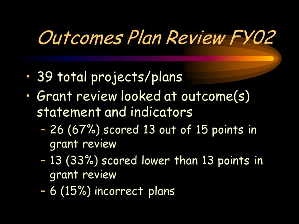 Outcomes Plan Review FY02 39 total projects/plans Grant review looked at outcome(s) statement and indicators –26 (67%) scored 13 out of 15 points in grant review –13 (33%) scored lower than 13 points in grant review –6 (15%) incorrect plans
