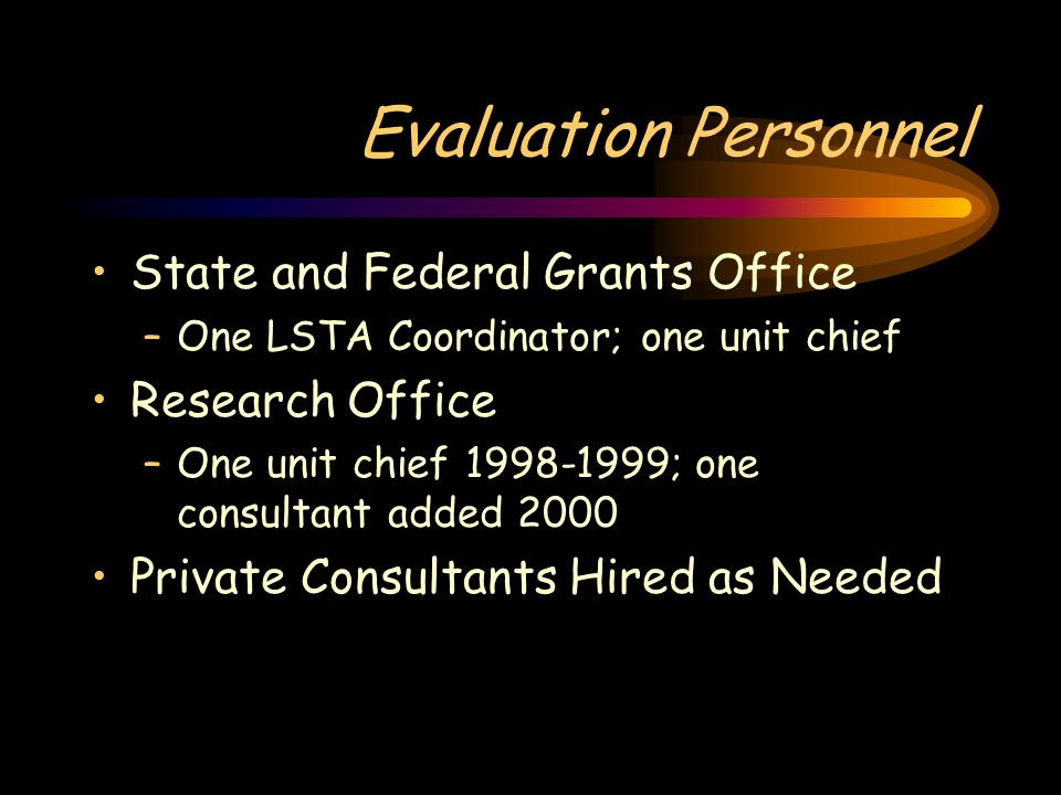 Evaluation Personnel State and Federal Grants Office –One LSTA Coordinator; one unit chief Research Office –One unit chief 1998-1999; one consultant a