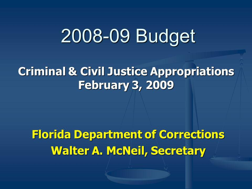 Budget Florida Department of Corrections Walter A.