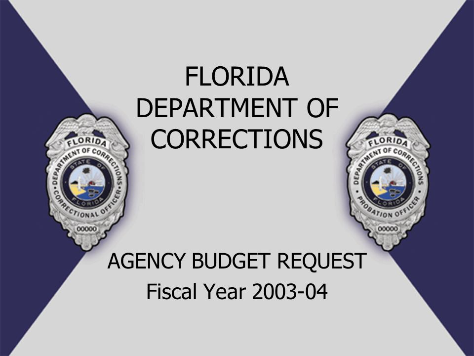 FLORIDA DEPARTMENT OF CORRECTIONS AGENCY BUDGET REQUEST Fiscal Year 2003-04