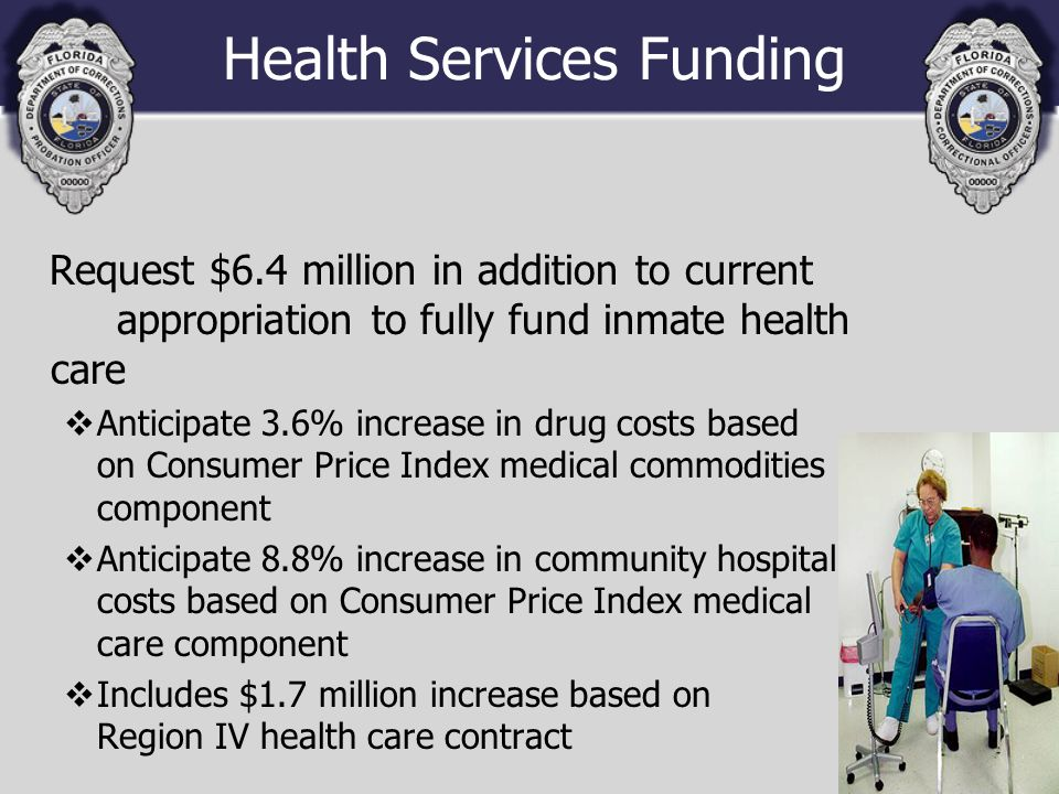 Health Services Funding Request $6.4 million in addition to current appropriation to fully fund inmate health care vAnticipate 3.6% increase in drug costs based on Consumer Price Index medical commodities component vAnticipate 8.8% increase in community hospital costs based on Consumer Price Index medical care component vIncludes $1.7 million increase based on Region IV health care contract