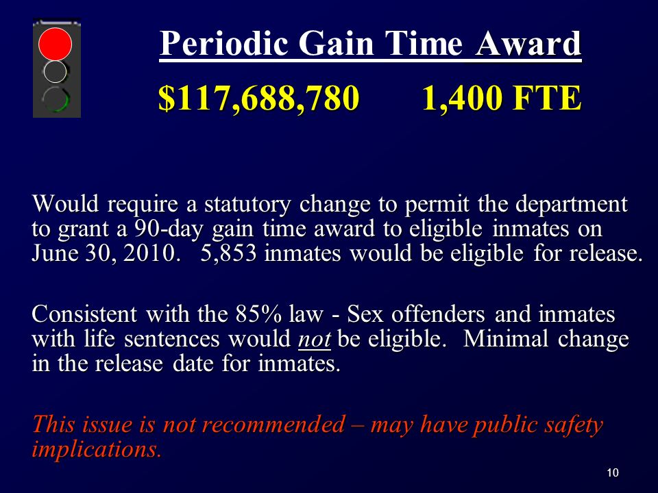 10 Award $117,688,7801,400 FTE Periodic Gain Time Award $117,688,7801,400 FTE Would require a statutory change to permit the department to grant a 90-day gain time award to eligible inmates on June 30, 2010.