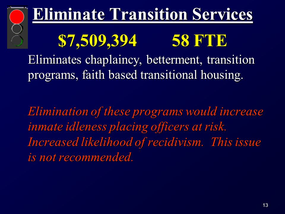 Eliminate Transition Services $7,509,394 58 FTE Eliminates chaplaincy, betterment, transition programs, faith based transitional housing.
