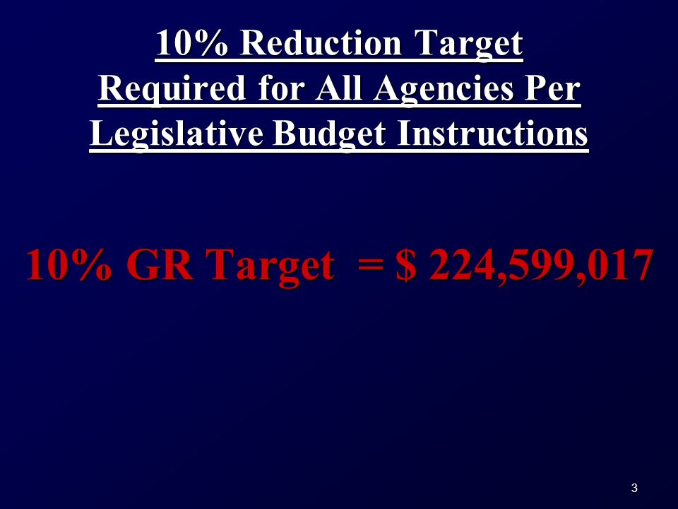 3 10% Reduction Target Required for All Agencies Per Legislative Budget Instructions 10% GR Target = $ 224,599,017