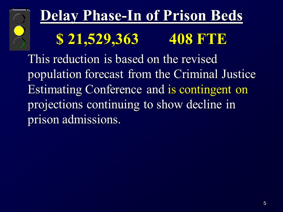 Delay Phase-In of Prison Beds $ 21,529,363408 FTE This reduction is based on the revised population forecast from the Criminal Justice Estimating Conference and is contingent on projections continuing to show decline in prison admissions.