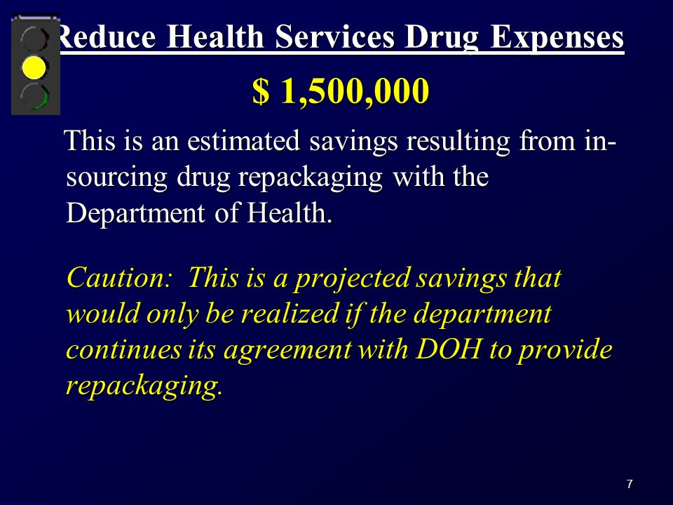 Reduce Health Services Drug Expenses $ 1,500,000 This is an estimated savings resulting from in- sourcing drug repackaging with the Department of Health.