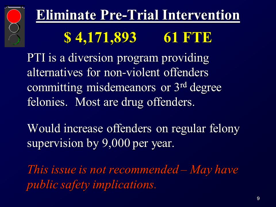 Eliminate Pre-Trial Intervention $ 4,171,893 61 FTE PTI is a diversion program providing alternatives for non-violent offenders committing misdemeanors or 3 rd degree felonies.