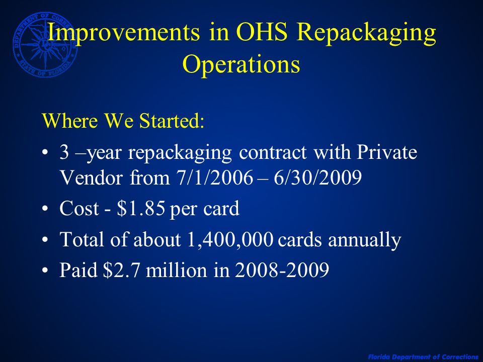 Improvements in OHS Repackaging Operations Where We Started: 3 –year repackaging contract with Private Vendor from 7/1/2006 – 6/30/2009 Cost - $1.85 per card Total of about 1,400,000 cards annually Paid $2.7 million in 2008-2009