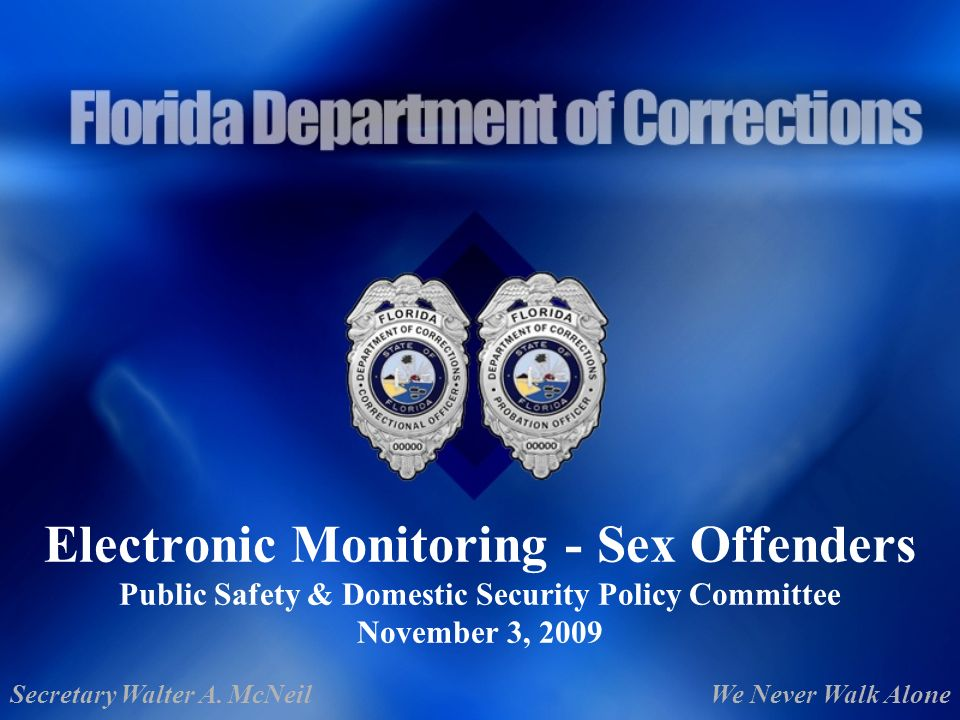 Electronic Monitoring - Sex Offenders Public Safety & Domestic Security Policy Committee November 3, 2009 Secretary Walter A.