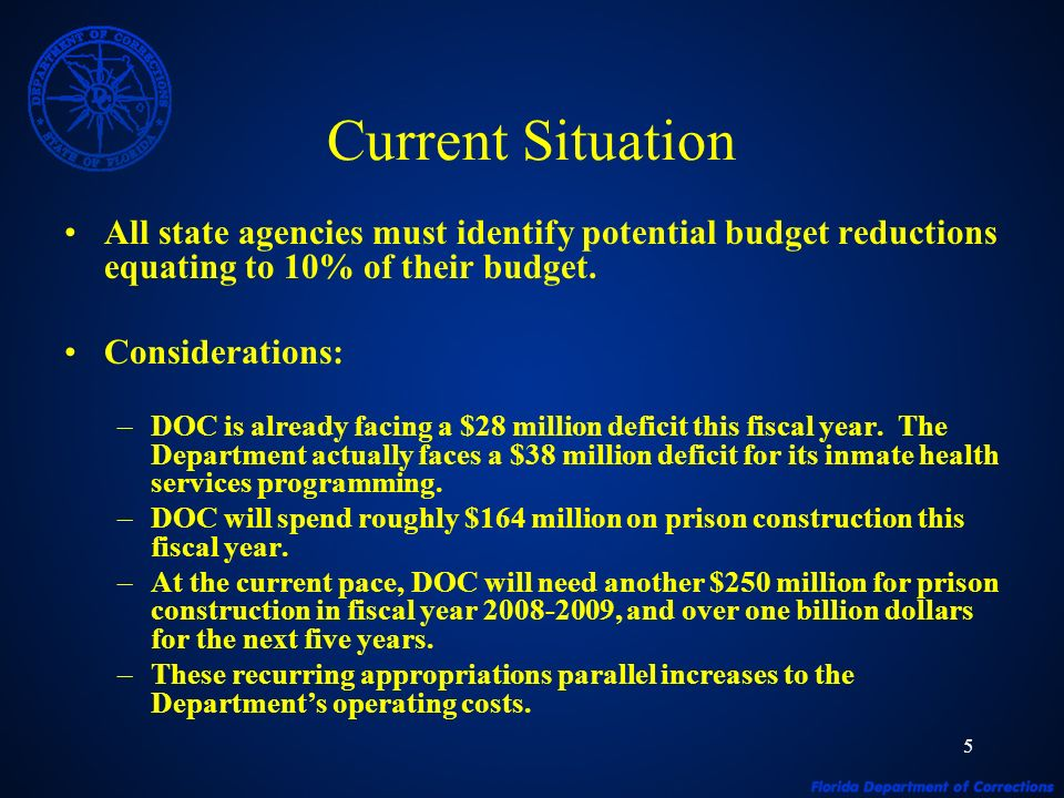 5 Current Situation All state agencies must identify potential budget reductions equating to 10% of their budget.