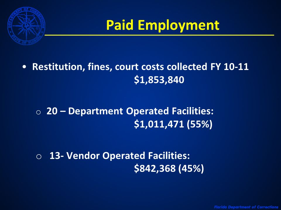 Paid Employment Restitution, fines, court costs collected FY 10-11 $1,853,840 o 20 – Department Operated Facilities: $1,011,471 (55%) o 13- Vendor Ope