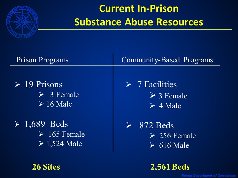 Current In-Prison Substance Abuse Resources Prison ProgramsCommunity-Based Programs 19 Prisons 3 Female 16 Male 1,689 Beds 165 Female 1,524 Male 7 Fac