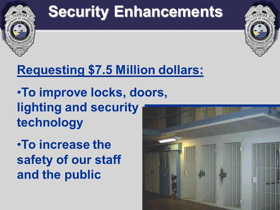 Security Enhancements Requesting $7.5 Million dollars: To improve locks, doors, lighting and security technology To increase the safety of our staff a