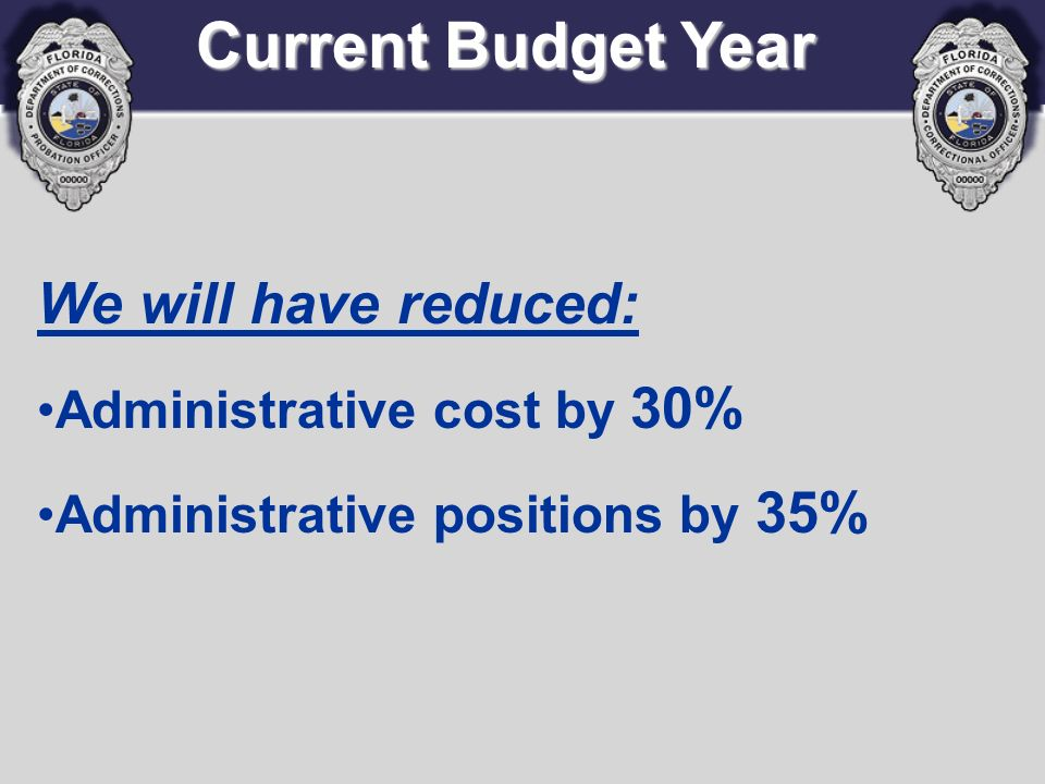 Current Budget Year We will have reduced: Administrative cost by 30% Administrative positions by 35%