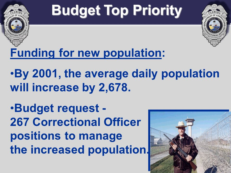 Funding for new population: By 2001, the average daily population will increase by 2,678. Budget request - 267 Correctional Officer positions to manag