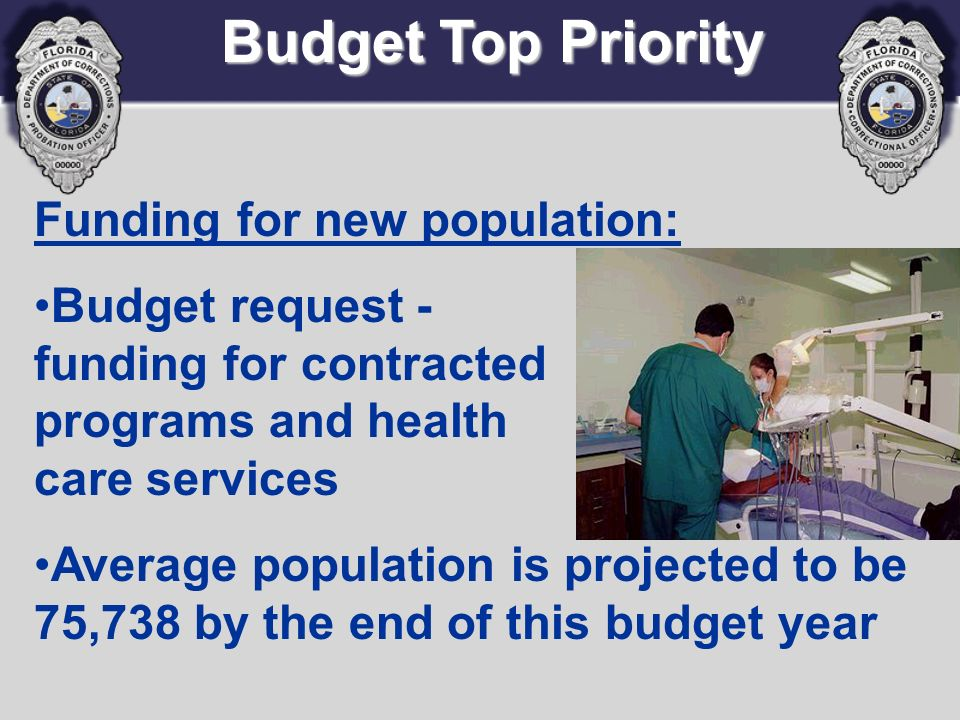 Funding for new population: Budget request - funding for contracted programs and health care services Average population is projected to be 75,738 by