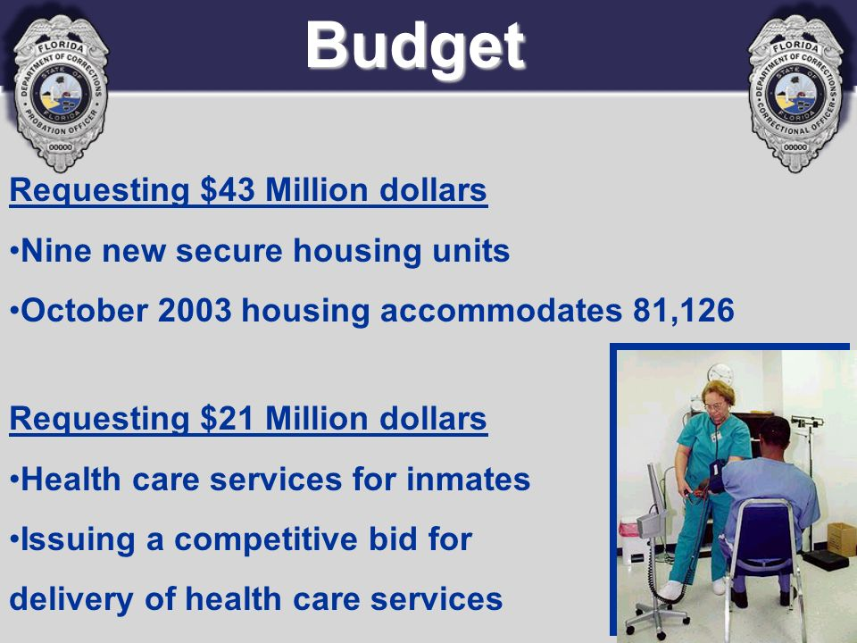 Budget Requesting $43 Million dollars Nine new secure housing units October 2003 housing accommodates 81,126 Requesting $21 Million dollars Health car