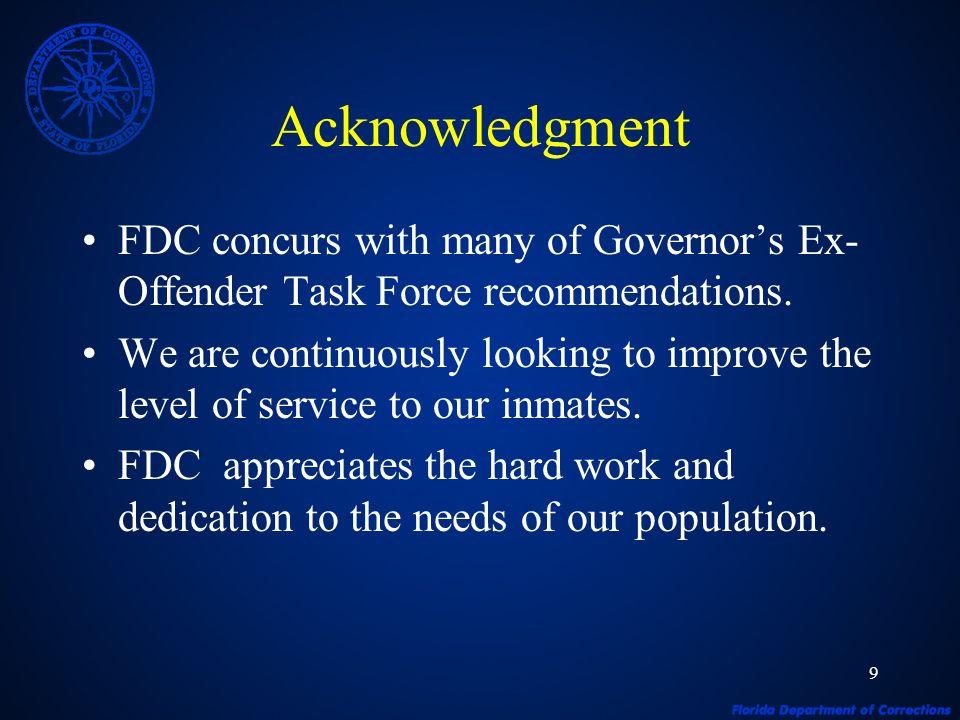 10 Governors Ex-Offender Task Force Recommendations Charlie Crist, Governor James R.