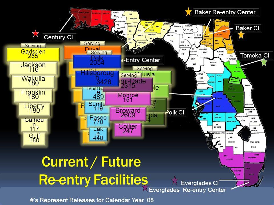 Everglades CI Tomoka CI Gadsden Re-Entry Center Century CI Baker CI Baker Re-entry Center Demilly CI Polk CI Everglades Re-entry Center Escambia 1,012
