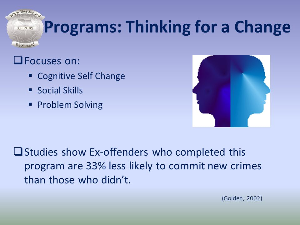Programs: Thinking for a Change Focuses on: Cognitive Self Change Social Skills Problem Solving Studies show Ex-offenders who completed this program a