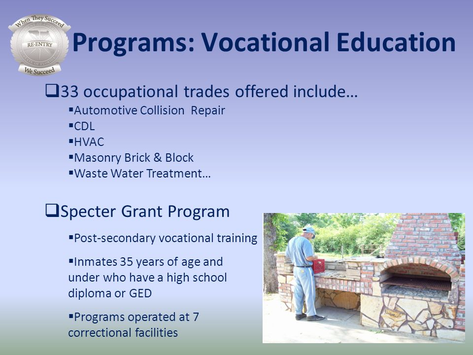 33 occupational trades offered include… Automotive Collision Repair CDL HVAC Masonry Brick & Block Waste Water Treatment… Specter Grant Program Post-s