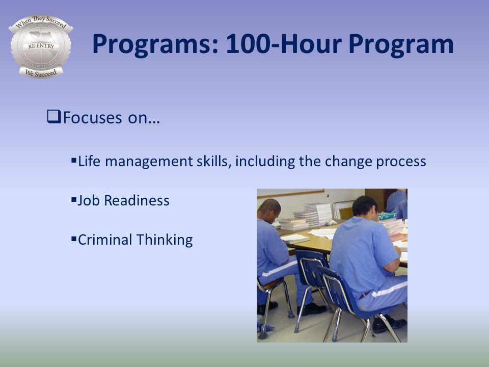 Focuses on… Life management skills, including the change process Job Readiness Criminal Thinking Programs: 100-Hour Program
