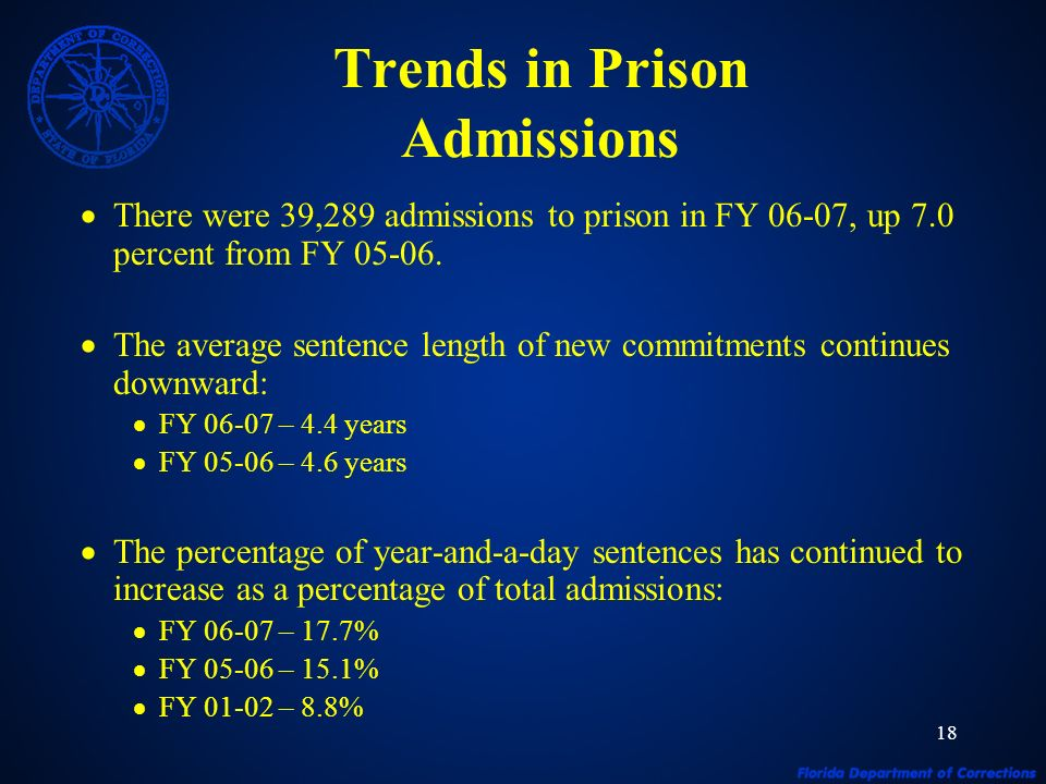18 Trends in Prison Admissions There were 39,289 admissions to prison in FY 06-07, up 7.0 percent from FY 05-06.