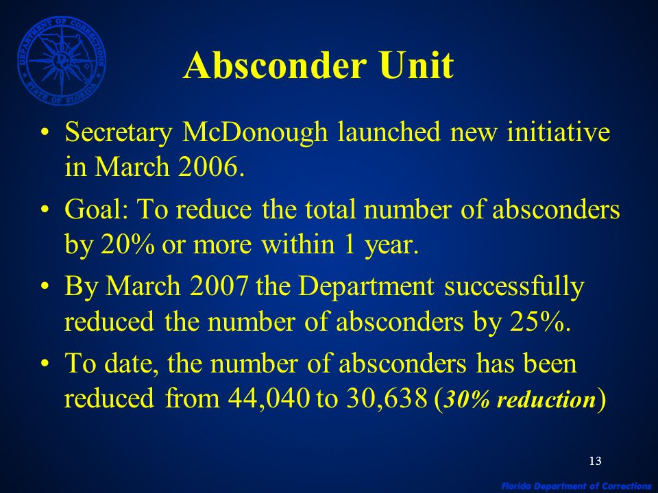 13 Absconder Unit Secretary McDonough launched new initiative in March 2006. Goal: To reduce the total number of absconders by 20% or more within 1 ye