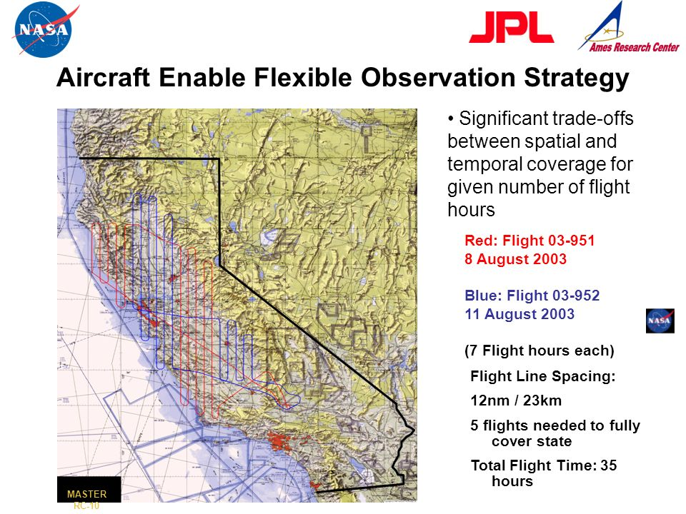 California: ER-2 Coverage from Two Missions Red: Flight 03-951 8 August 2003 Blue: Flight 03-952 11 August 2003 (7 Flight hours each) Flight Line Spac