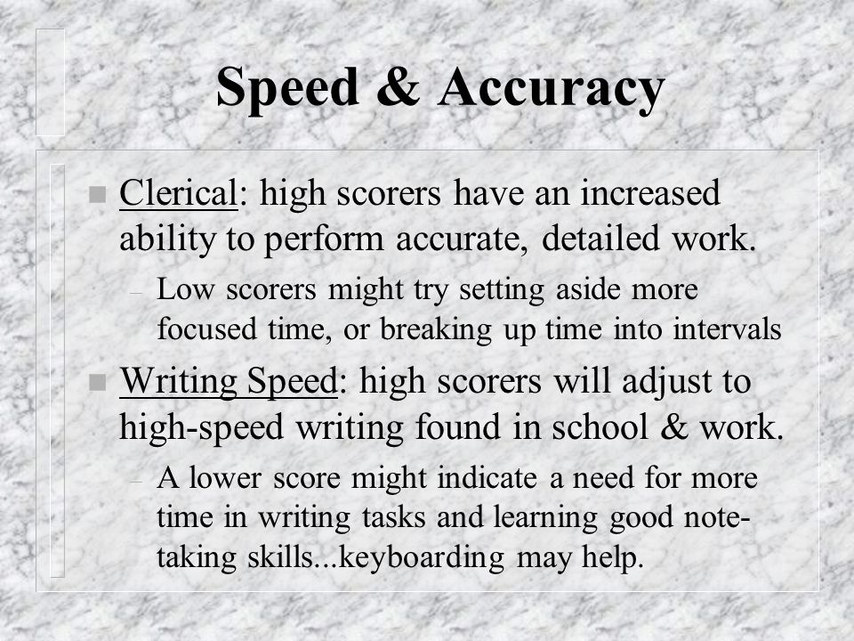 7 Categories of Aptitude Measures n Speed & Accuracy n Memory n Reasoning n Academic n Spatial n Creativity n Orientation