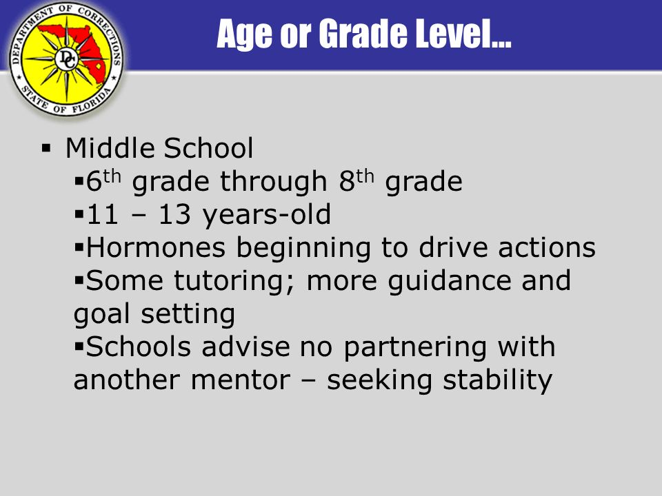 Age or Grade Level… Middle School 6 th grade through 8 th grade 11 – 13 years-old Hormones beginning to drive actions Some tutoring; more guidance and goal setting Schools advise no partnering with another mentor – seeking stability