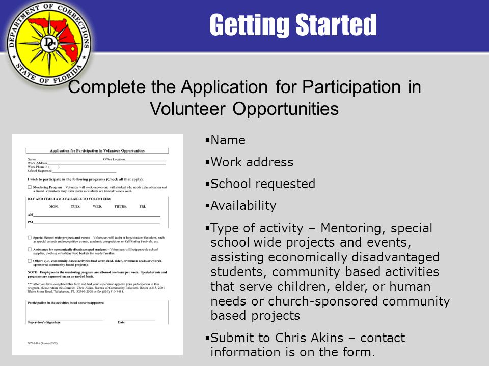 Getting Started Complete the Application for Participation in Volunteer Opportunities Name Work address School requested Availability Type of activity