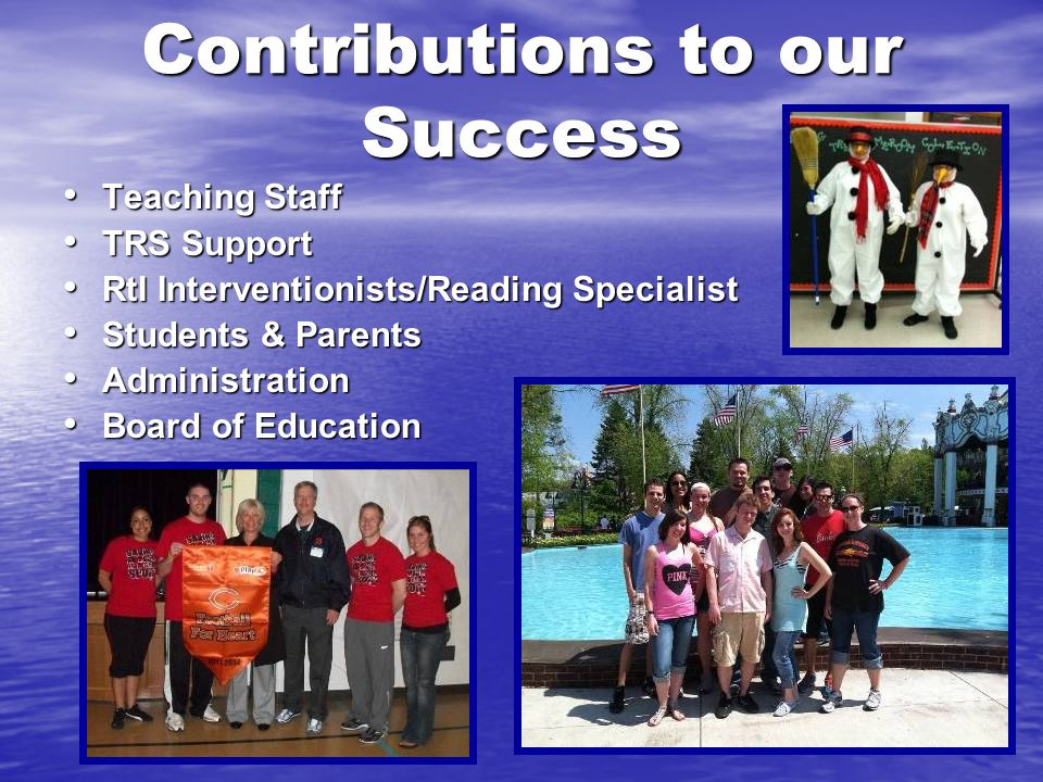 Contributions to our Success Teaching Staff Teaching Staff TRS Support TRS Support RtI Interventionists/Reading Specialist RtI Interventionists/Readin