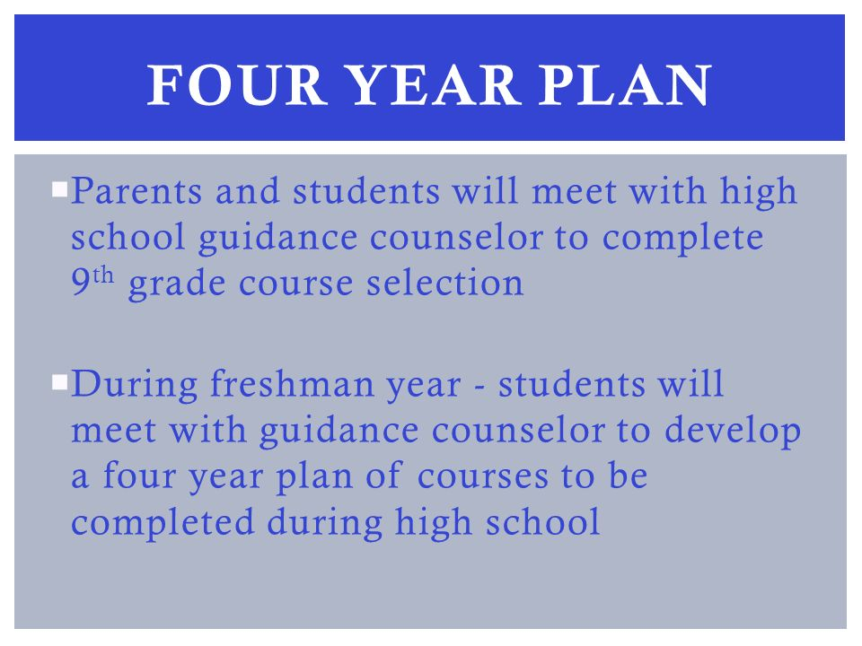 Parents and students will meet with high school guidance counselor to complete 9 th grade course selection During freshman year - students will meet with guidance counselor to develop a four year plan of courses to be completed during high school FOUR YEAR PLAN