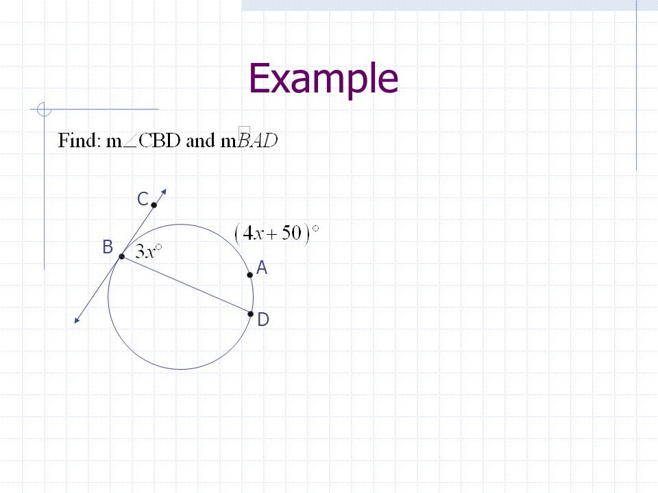Lines Intersecting On, Inside, or Outside a Circle On the circle Inside the circle Outside the circle Case 1 Case 2 Case 3 An inscribed angle