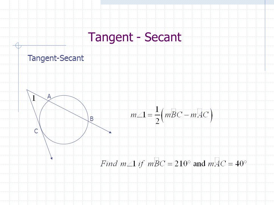 Tangent - Secant B A C
