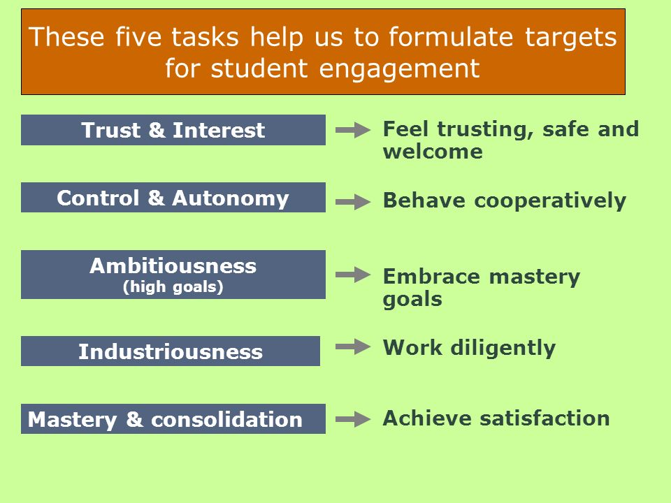 These five tasks help us to formulate targets for student engagement Trust & Interest Control & Autonomy Ambitiousness (high goals) Industriousness Ma