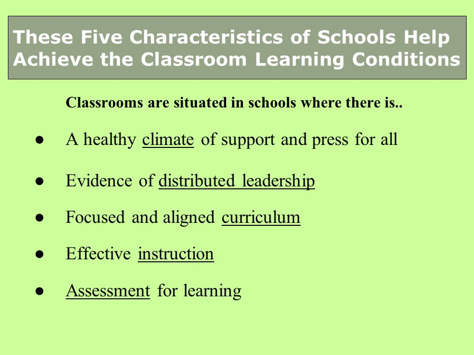 Classrooms are situated in schools where there is.. A healthy climate of support and press for all Evidence of distributed leadership Focused and alig