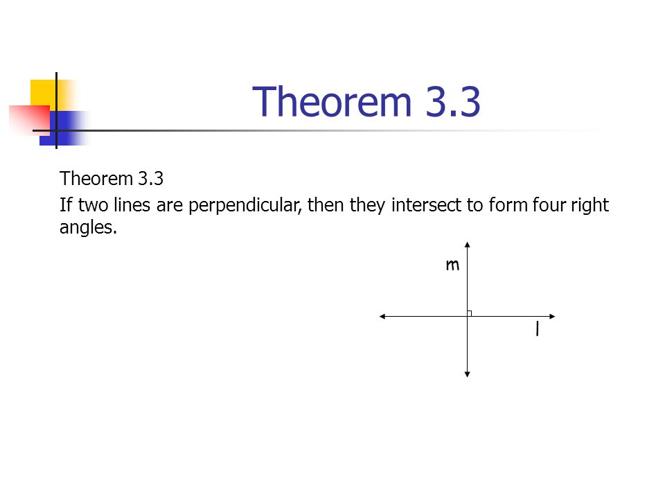 Theorem 3.3 If two lines are perpendicular, then they intersect to form four right angles. l m